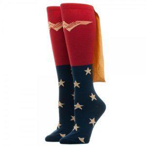 Wonder Woman Knee High Socks w/ Shiny Gold Cape